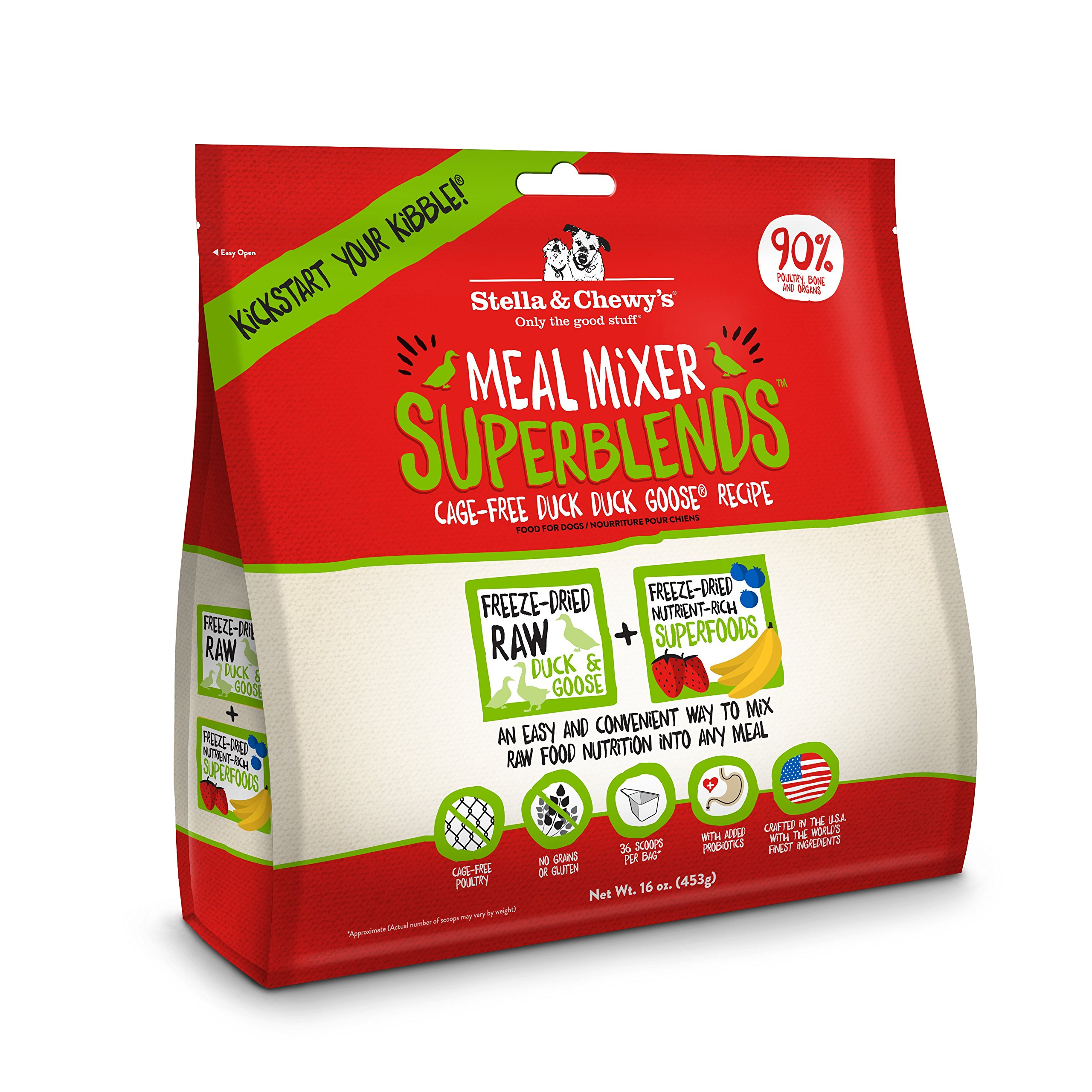 Stella & Chewy's Freeze-Dried Raw Cage-Free Duck Meal Mixer SuperBlends Grain-Free Dog Food Topper, 16 oz. bag by Stella & Chewy's