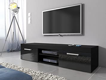 TV Unit Cabinet Stand Mambo Body Black Matte/Fronts Black High Gloss 160 Cm