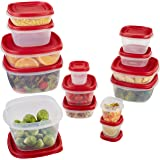 Rubbermaid Easy Find Lid 28-Piece Food Storage Container Set, Red