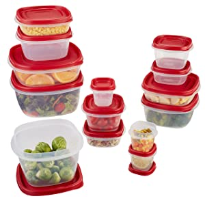Rubbermaid Easy Find Lids Food Storage Containers, Racer Red, 28-Piece Set 1804698