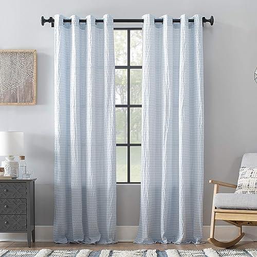 Archaeo Seersucker Stripe Cotton Blend Grommet Top Curtain, 50 x 84 , Blue White