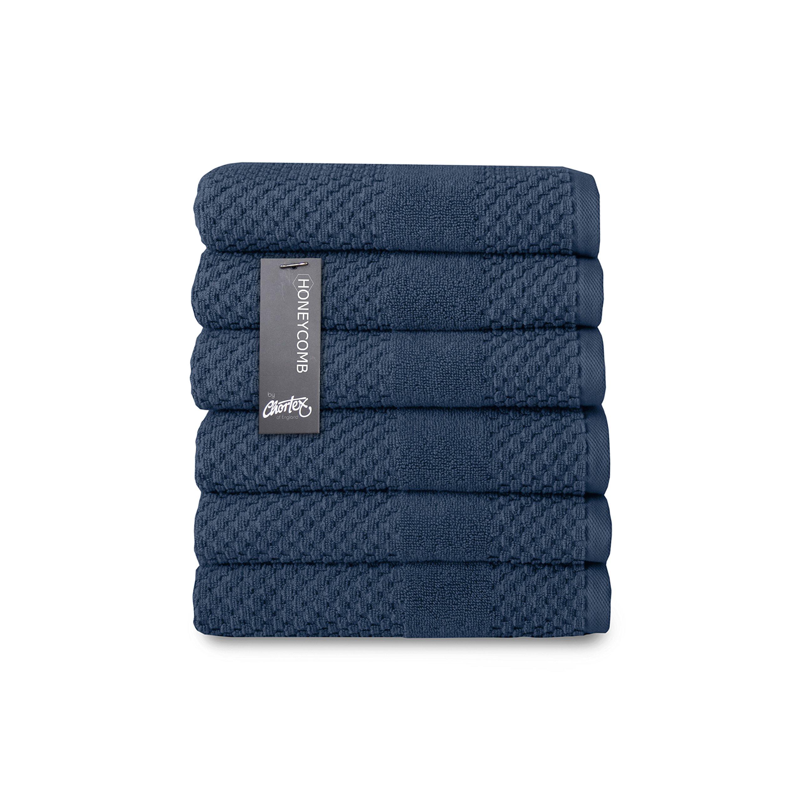 Chortex Turkish Cotton Hand Towel (6 Pack), Pack of 6, Navy