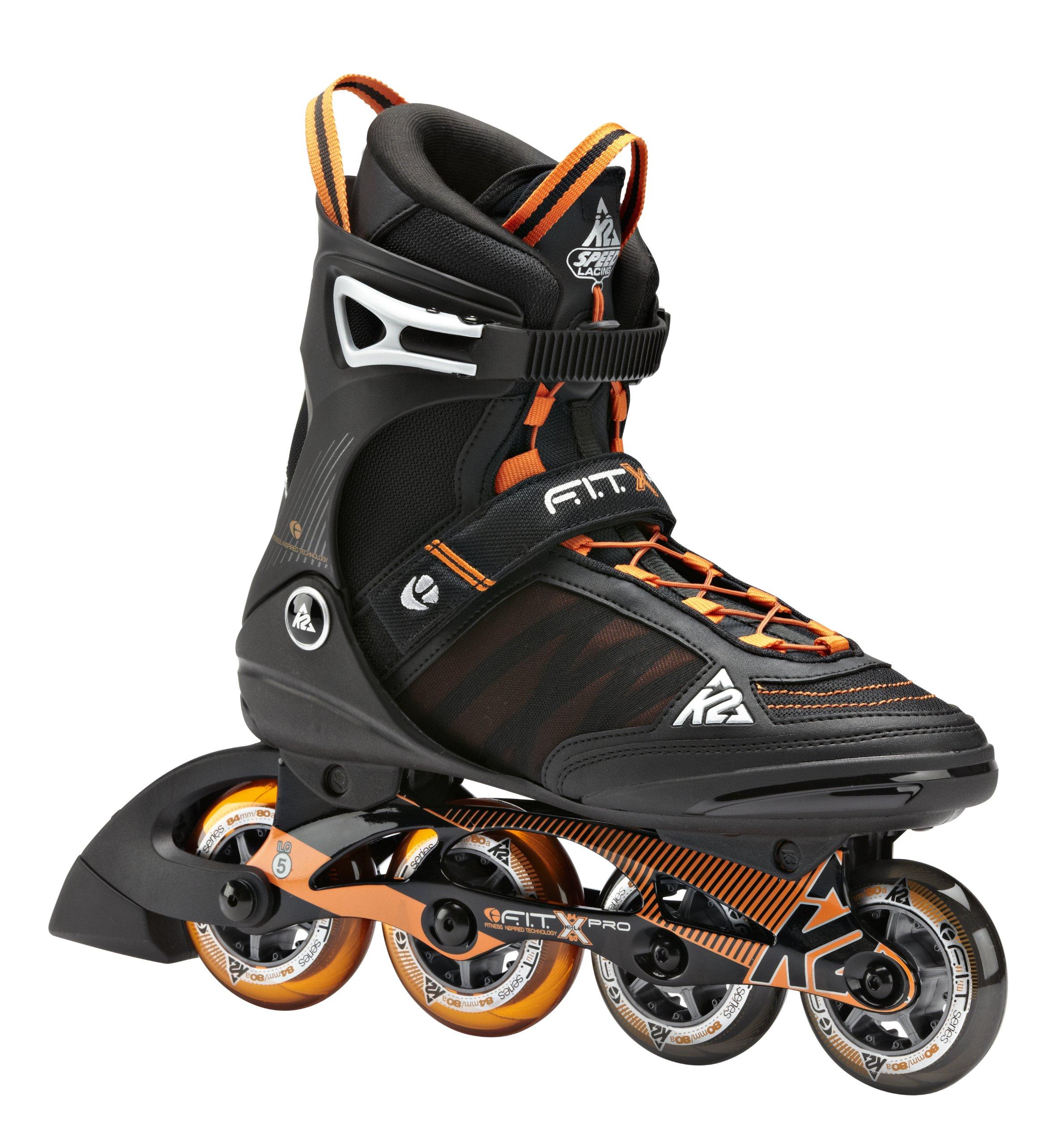 K2 Skate F.I.T. X Pro Inline Skates, Black/Orange, 12