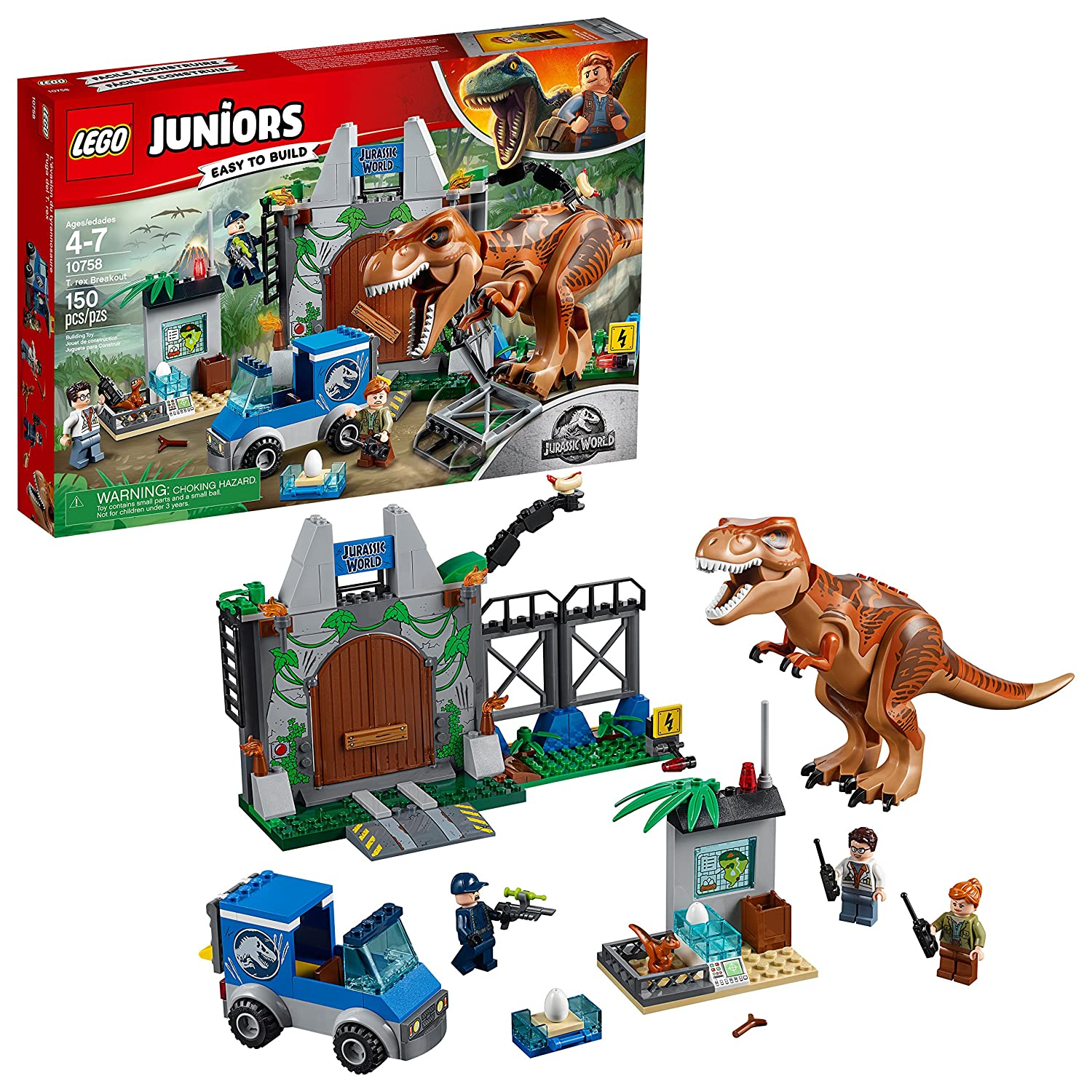 LEGO Juniors/4+ Jurassic World T. rex Breakout 10758 Building Kit (150 Piece)