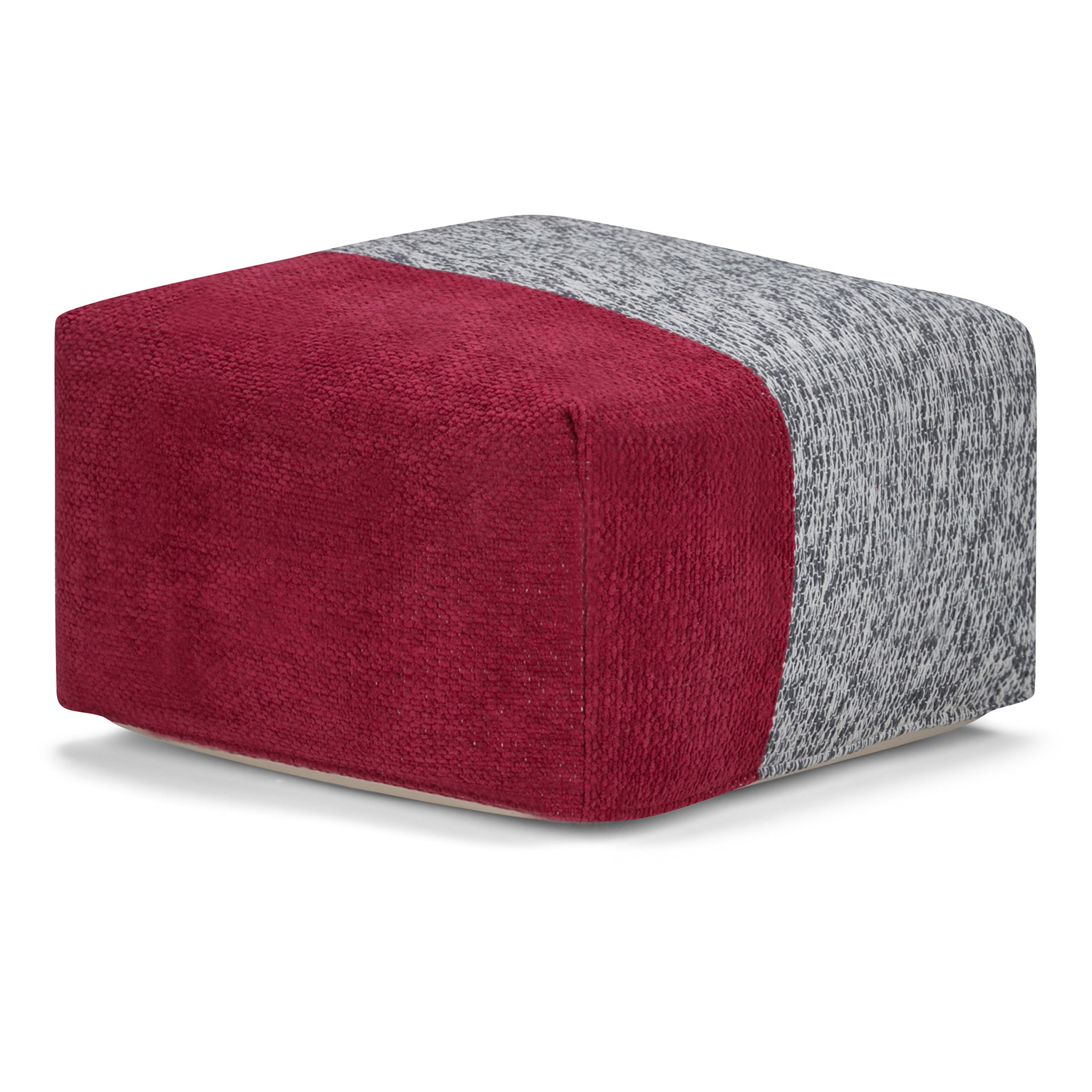 Simpli Home Emmett Square Pouf, Red and Grey