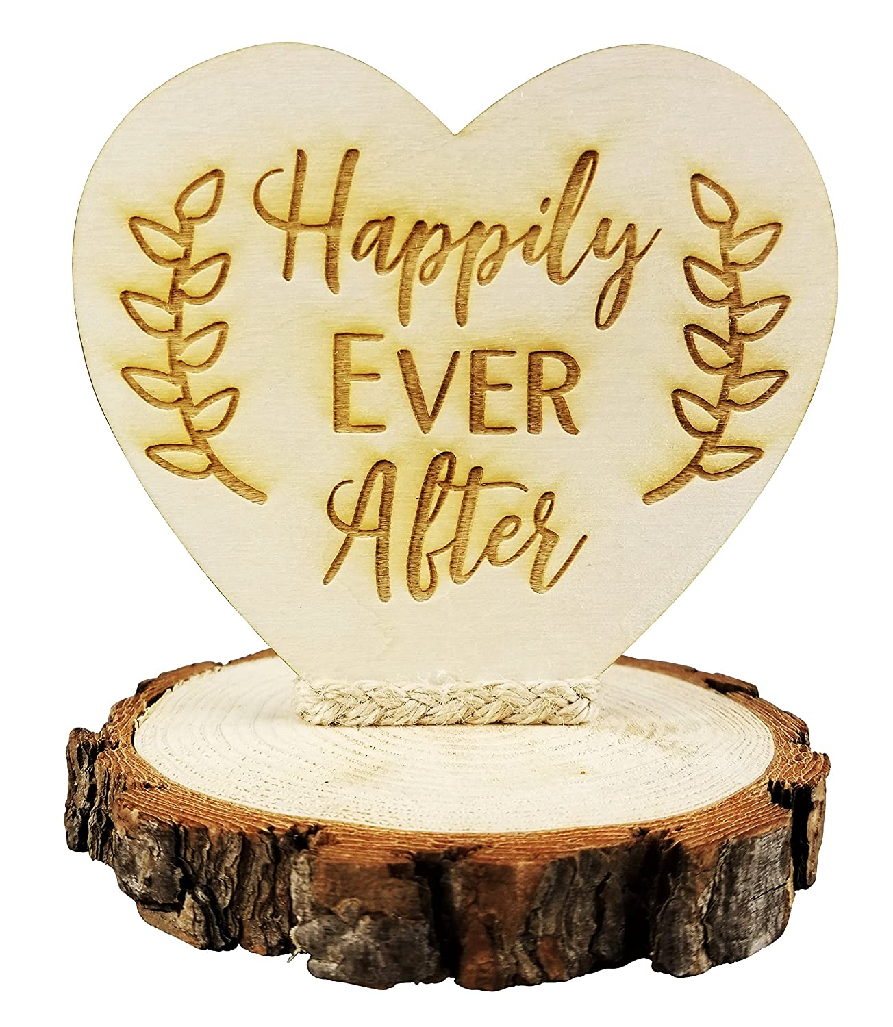 Happily Ever After Rustic Wedding Cake Topper: Amazon.com: Grocery ...