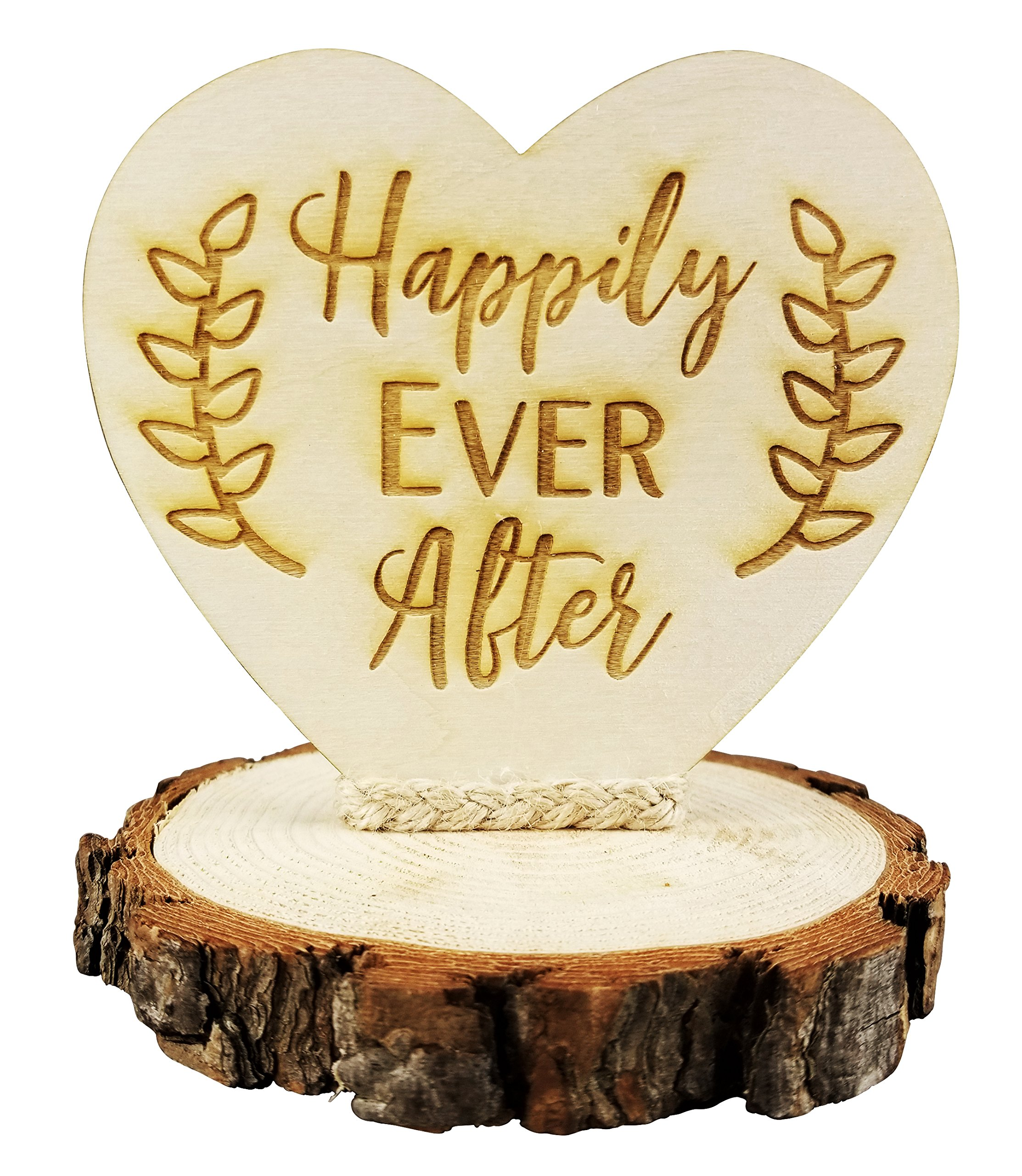 Happily Ever After Rustic Wedding Cake Topper by Wedding Collectibles (Image #1)