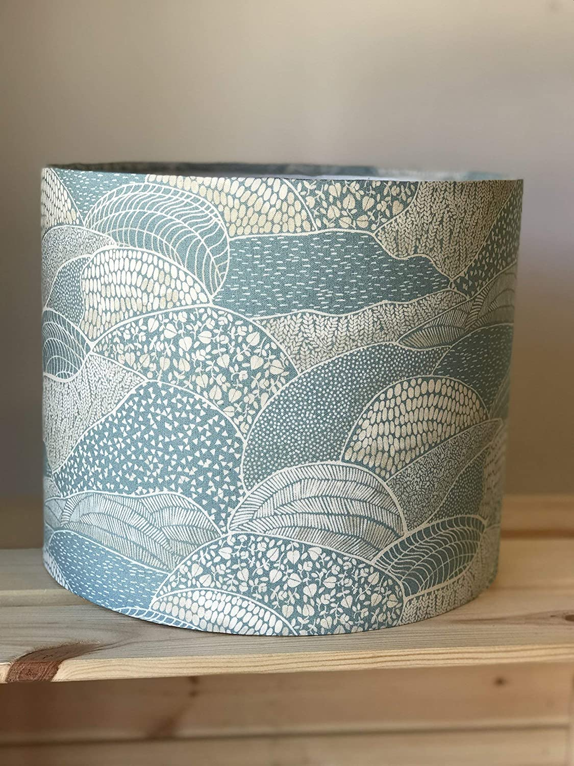 Blue Landscape Drum Lampshade countryside rolling fields