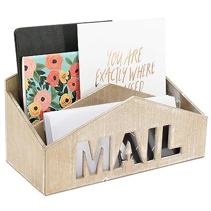 Amazoncom Blu Monaco Wooden Mail Organizer 2 Tier Wall Mount Or