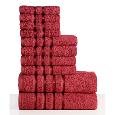 Wicker Park 550 GSM Ultra Soft Luxurious 10-Piece Towel Set (Ruby Red): 2 Bath Towels, 4 Hand Towels, 4 Washcloths, Long-Staple Combed Cotton, Spa Hotel Quality, Super Absorbent, Machine Washable