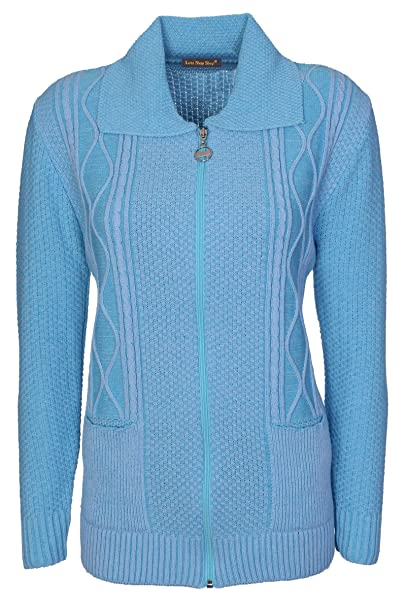 e35cc3eda17c Lets Shop Shop Womens Zipped Cable Knit Long Sleeve Zip Through Fasten  Jumper Top Ladies Classic Knitwear Zipper Cardigan Pullover Plus Size 10 12  14 16 18 ...