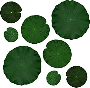 IFAMIO Artificial Floating Foam Lotus Leaves Decor for Pond Aquarium and Stage Realistic Lotus Foliage Green Plant for Fish Pool Decoration Pack of 8, 4 Sizes (10, 15, 20, 28cm)