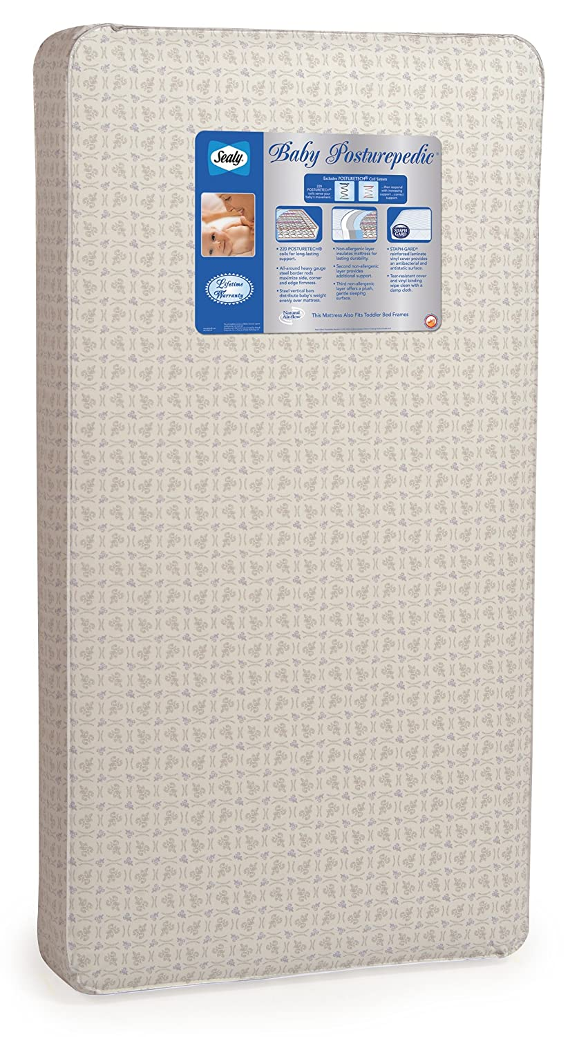 "Sealy Baby Posturepedic Infant/Toddler Crib Mattress -220 PostureTech Sensory Coils, Orthopedically Designed Coil System, Hospital-Grade Waterproof Cover, Secure Edges, Anti-Sag System, 51.7""x27.3 51.7""x27.3 Kolcraft EM601-MFF1"