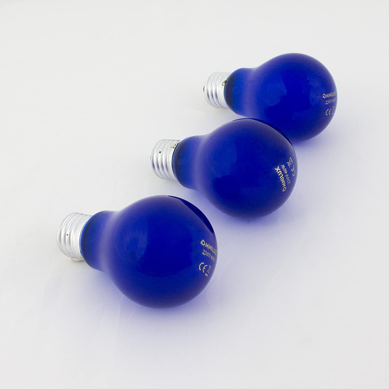 Conjunto de bombillas de colores azul Set 3 x bombillas de color A19 230V // 40W /para iluminaci/ón de fiestas showking z/ócalo E-27