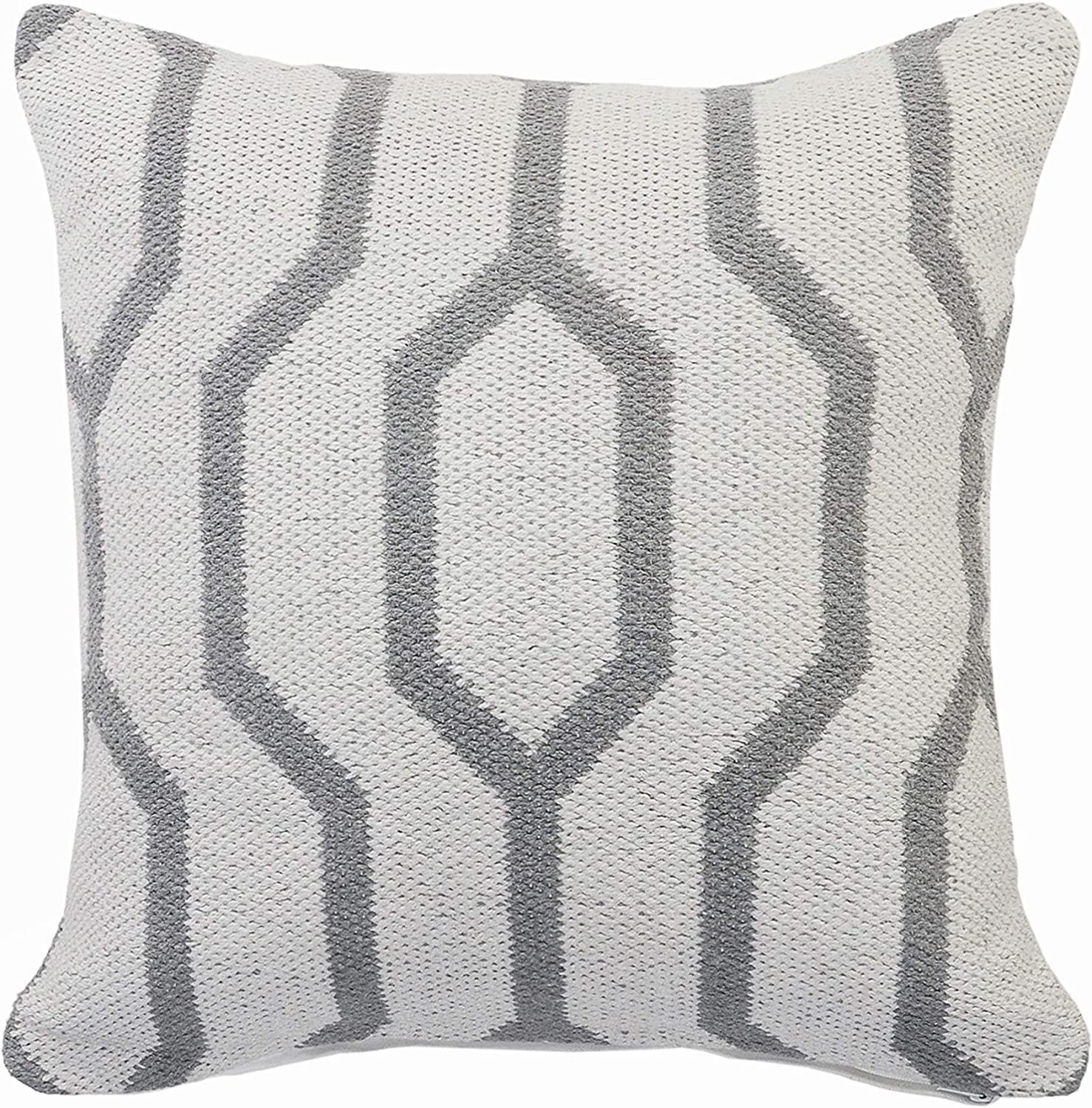 Amazon Com Lr Home Gray And White Geometric Throw Pillow 20 X 20 Home Kitchen
