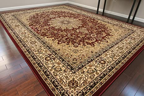 Dunes Traditional Isfahan High Density 1u0026quot; Thick Wool 1.5 Million Point  Persian Area Rug,