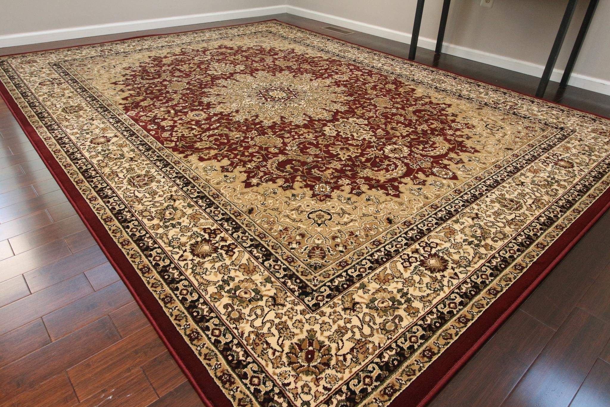Dunes Traditional Isfahan High Density 1'' Thick Wool 1.5 Million Point Persian Area Rug, 2' x 3', Burgundy