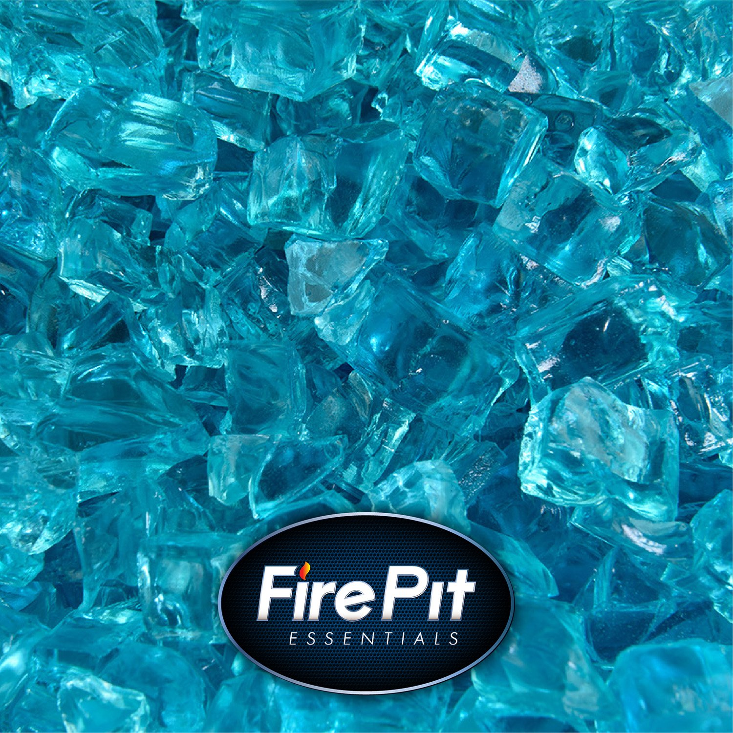 Blue Fire Glass for Indoor and Outdoor Fire Pits or Fireplaces | 10 Pounds | Tahitian Blue Original Glass, 1/2 Inch