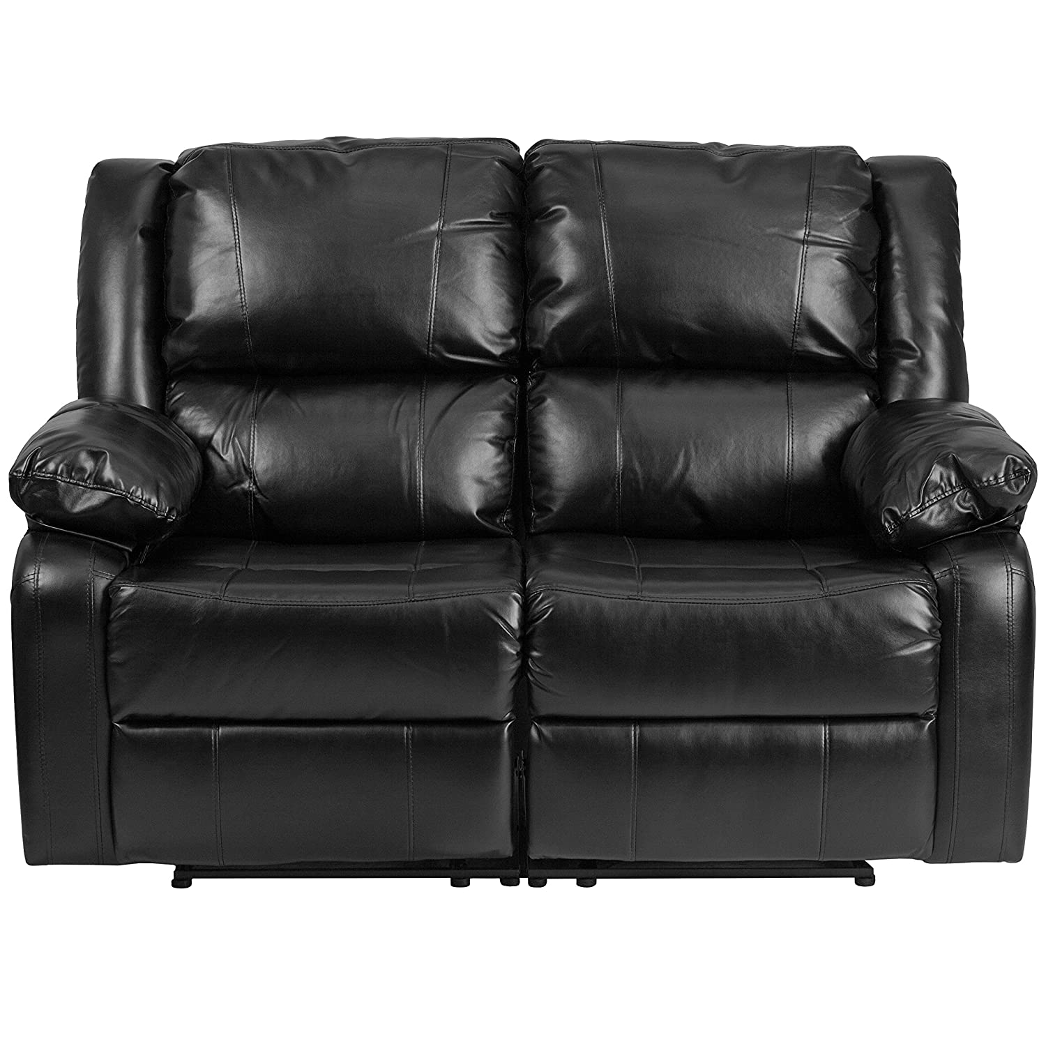 Amazon.com: Flash Furniture Harmony Series Black Leather Loveseat With Two  Built In Recliners: Kitchen U0026 Dining