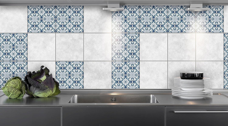 16pcs Adesivi per Piastrelle Cucina Modelli Blu Dimensioni della Pellicola del Vinile per Le Dimensioni Differenti delle mattonelle della Parete del Bagno