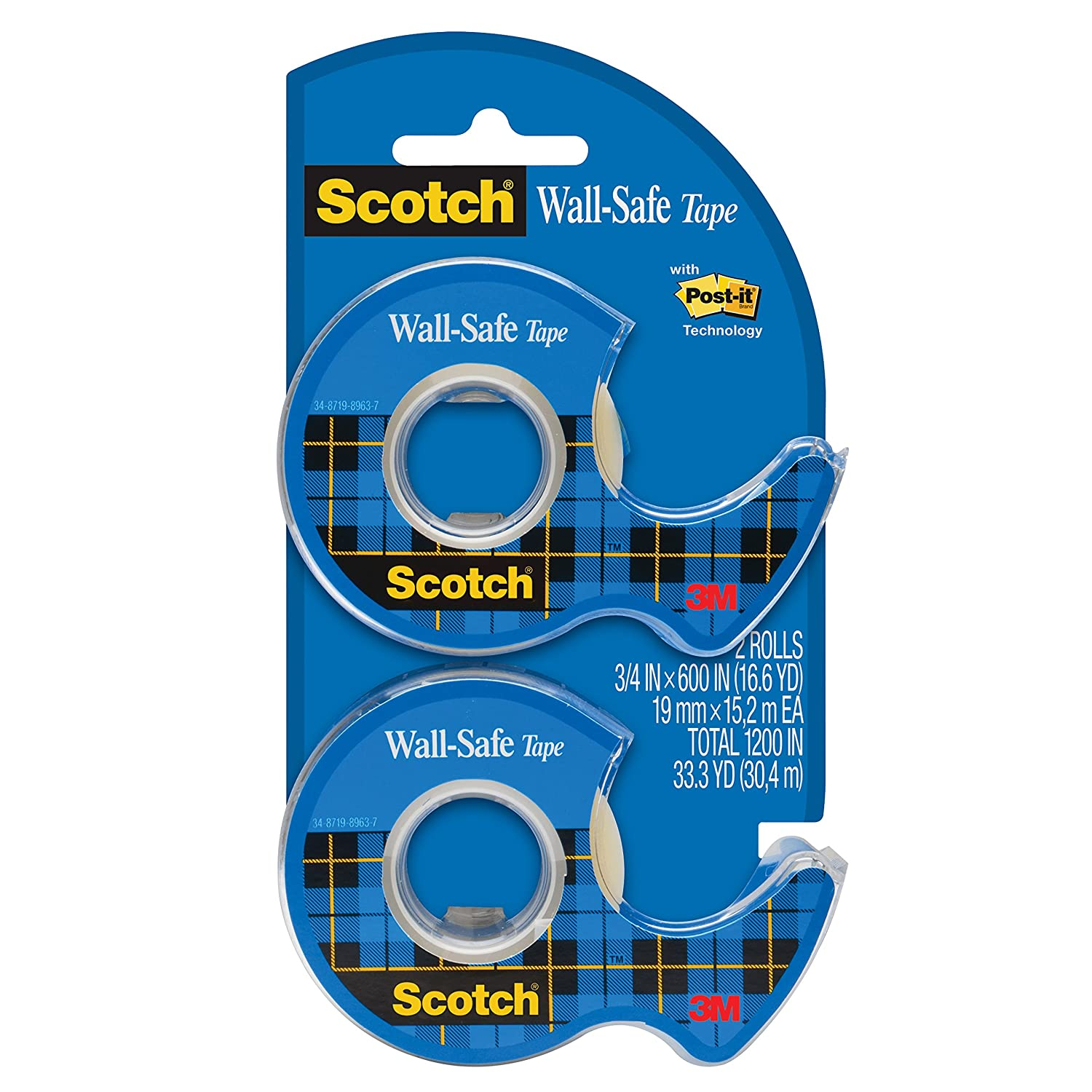Scotch Wall-Safe Tape, Standard Width, Engineered for Hanging, 3/4 x 600 Inches, 2 Rolls (183-DM2) 3M Office Products