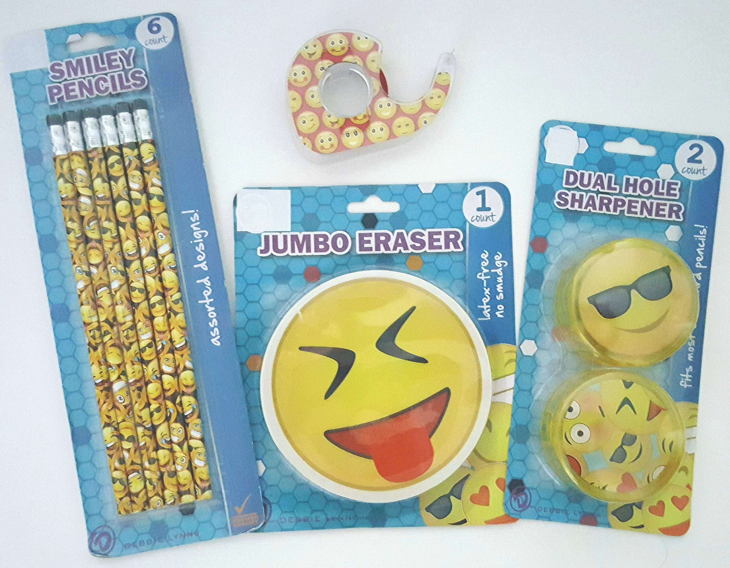Emoji Smiley Back to School Bundle Set Teens Pencils Jumbo Eraser Dual Hole Sharpeners (2) Tape 4 Piece Set