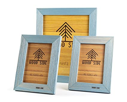 Rustic Wooden Picture Frames Blue   Turquoise Set Of 3   One 8 X 10 And