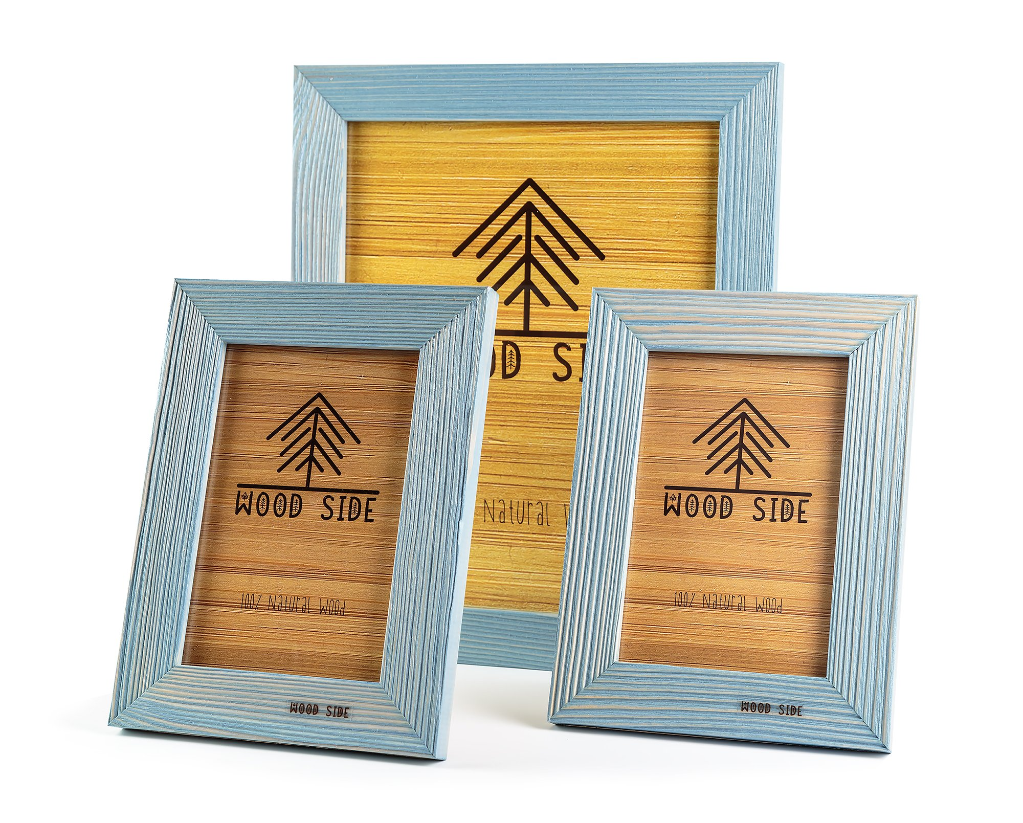 Rustic Wooden Picture Frames Blue - Turquoise Set of 3 - One 8 x 10 and Two 4 x 6 Inch Picture Frames Made of Solid Wood High Definition Glass for Table Top Display and Wall Mounting Photo Frame