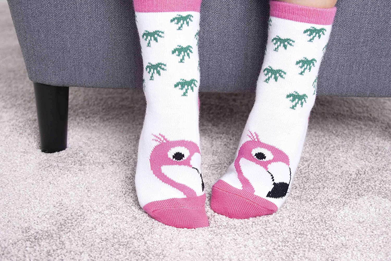 Cute Baby Socks With Characters Florence Flamingo and Linda Llama by Ziggle Soft