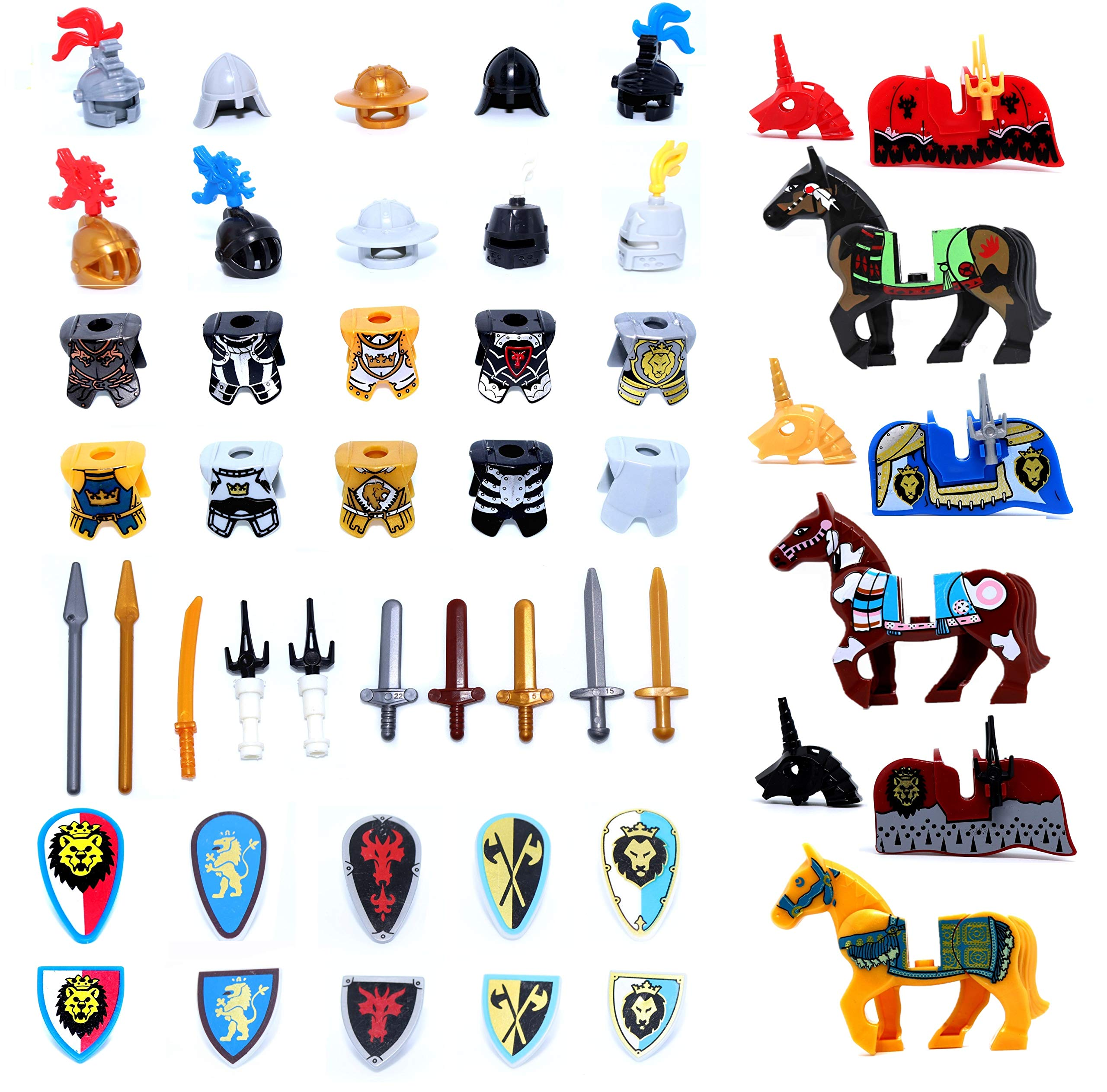 inFUNity Medieval Minifigures Armor and Weapons Accessories fit 10 Middle Ages Knights Minifigure Horses Compatible with Minifigures