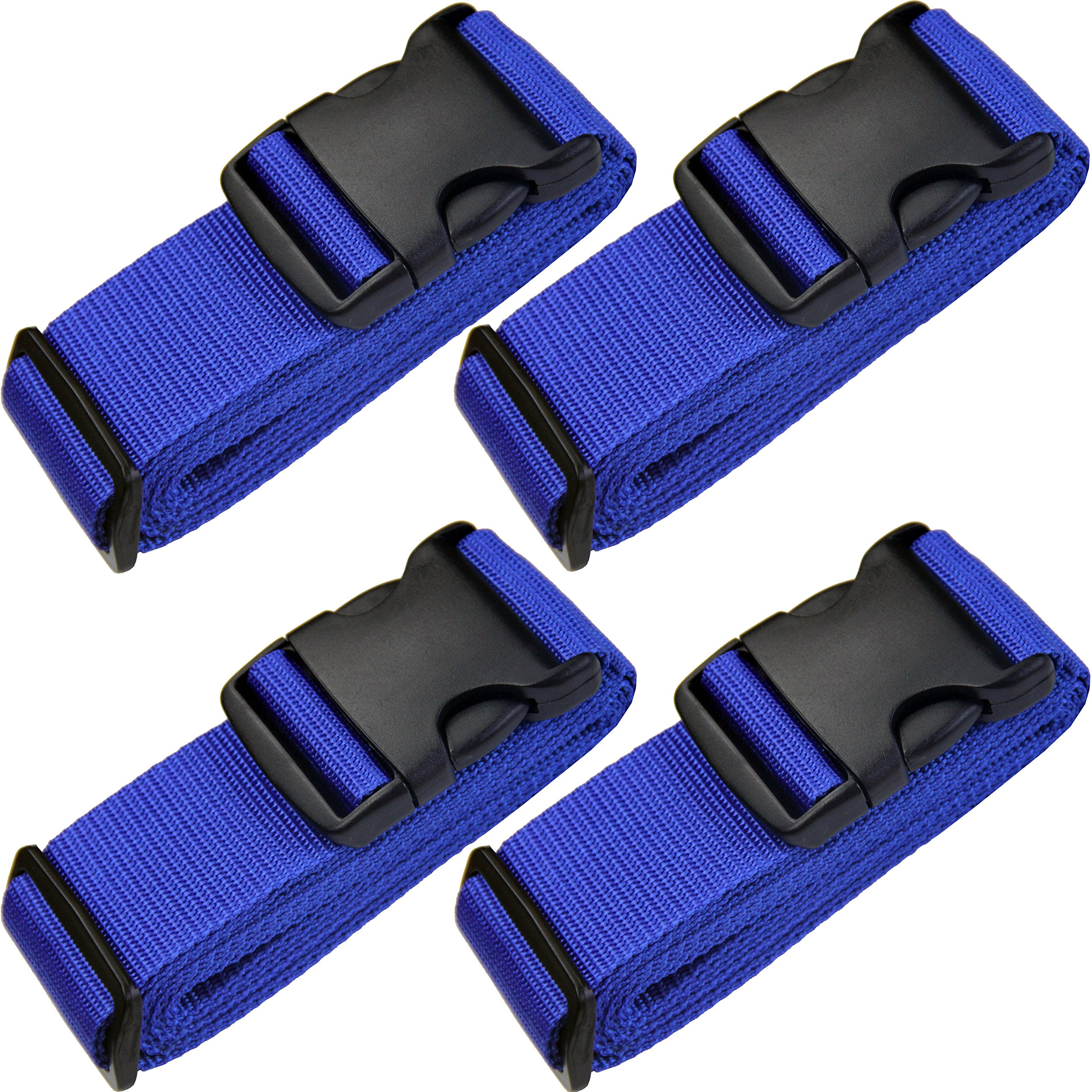 TRANVERS Travel Straps Luggage Strap Suitcases Belt Baggage Strap Sturdy 4-Pack Blue