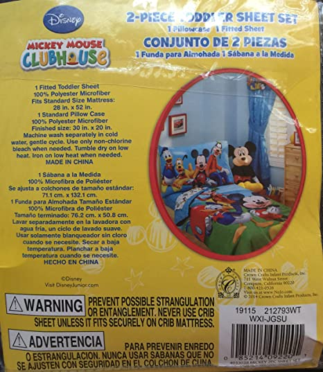 Amazon.com : Disney Mickey Mouse Club House 2-Piece Toddler Sheet Set (1 Pillow Case & 1 Fitted Sheet) : Baby