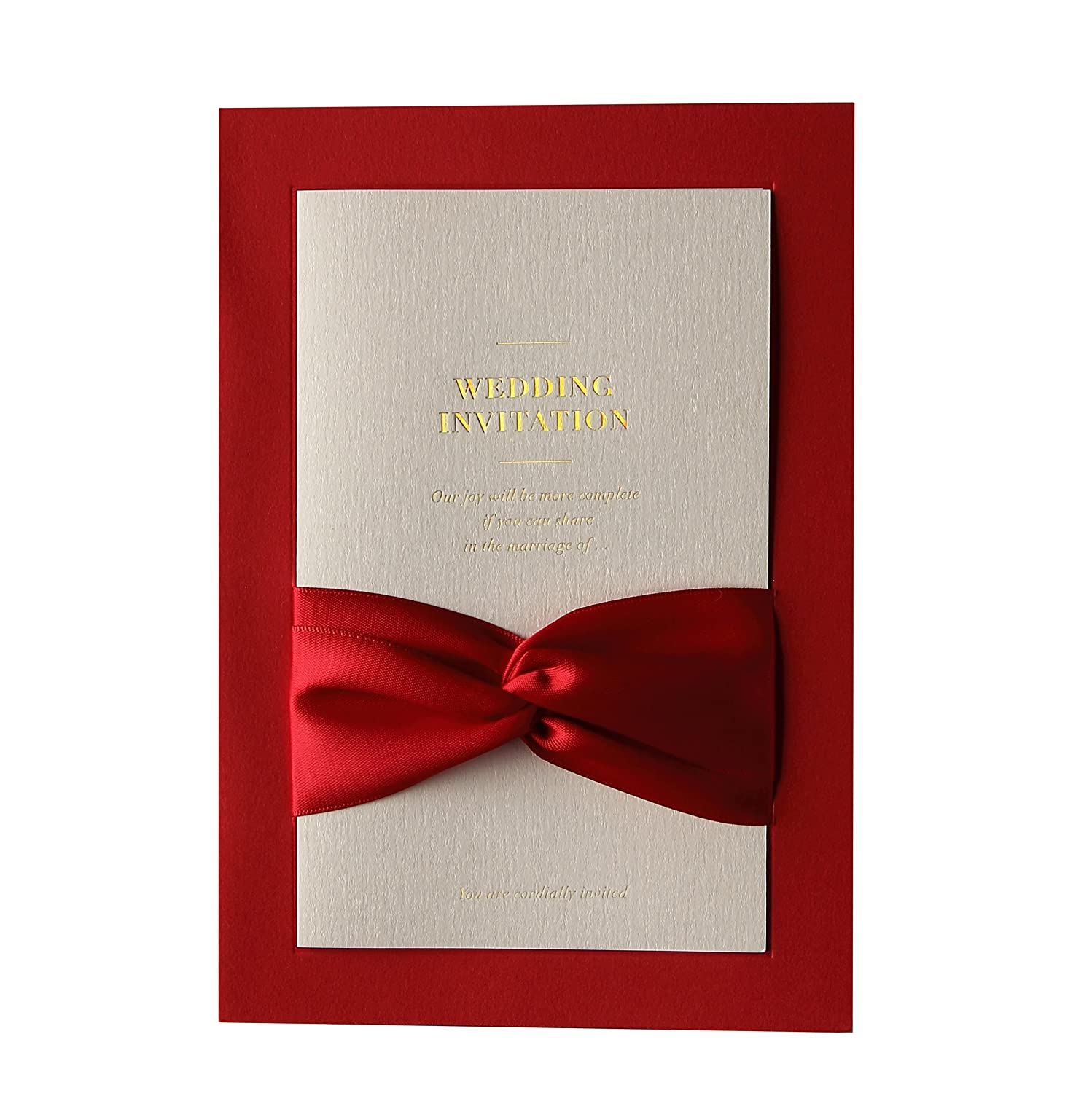 BHands 100 X Wedding Engagement Invitations Card with Ribbon Bridal ...
