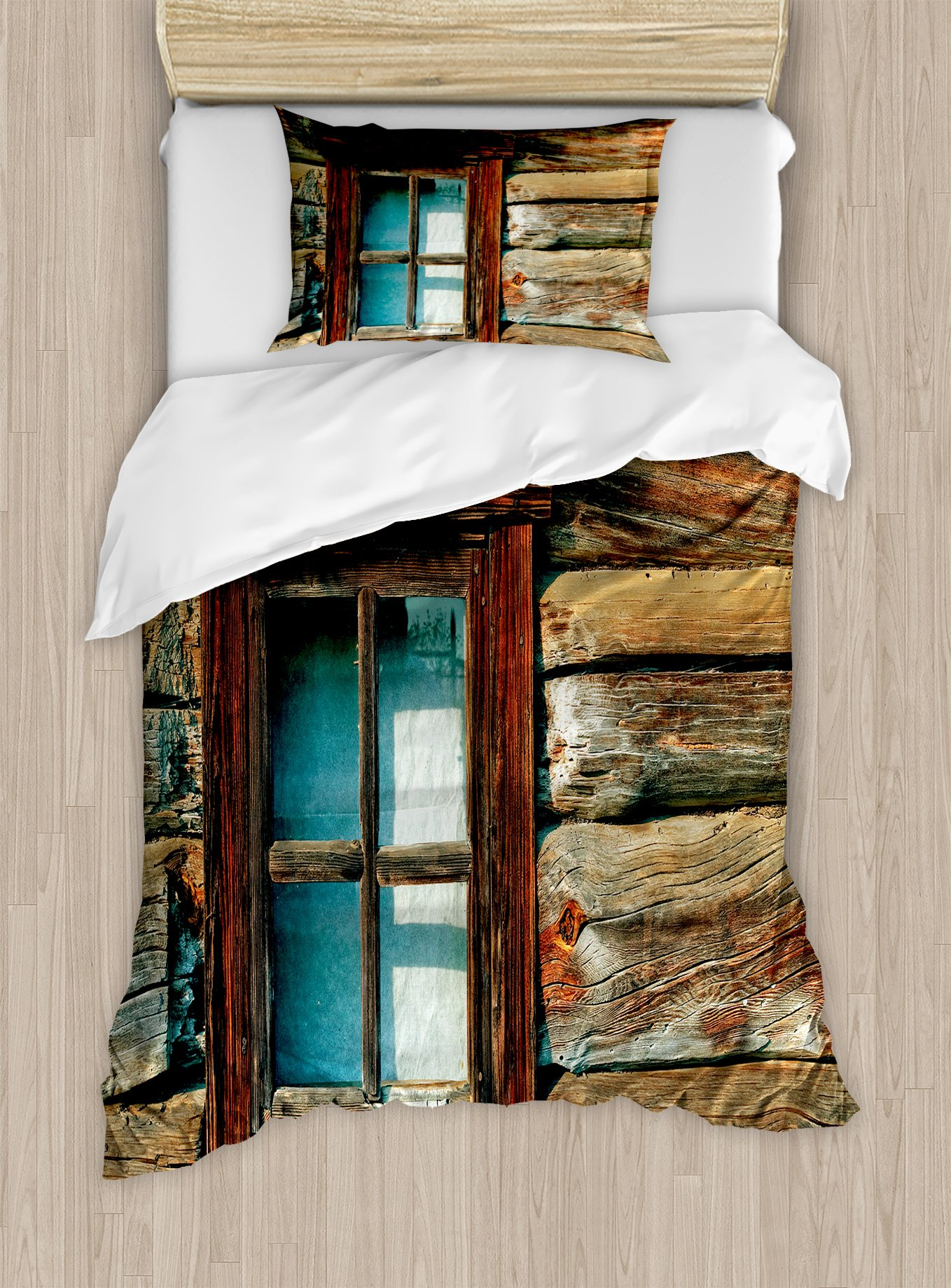 Ambesonne Scenery Duvet Cover Set Twin Size, Single Window with White Curtain on a Wooden Background Lumberjack House Photo, Decorative 2 Piece Bedding Set with 1 Pillow Sham, Brown and Blue