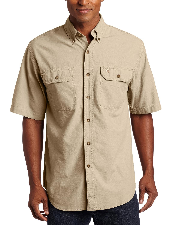 TALLA M. Carhartt Camisa de Manga Corta para Hombre S200, Frente Abotonado, de Cambray Ligero