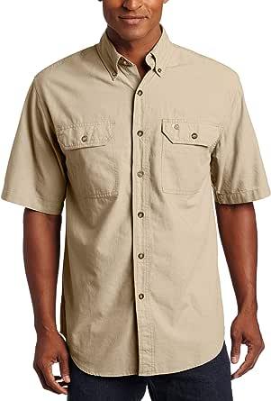 Carhartt Camisa de Manga Corta para Hombre S200, Frente Abotonado, de Cambray Ligero