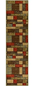 "Ottomanson Ottohome Collection Multi Color Contemporary Boxes Design Runner Rug with Non-Skid Rubber Backing, 1'10""W x 7'0""L"