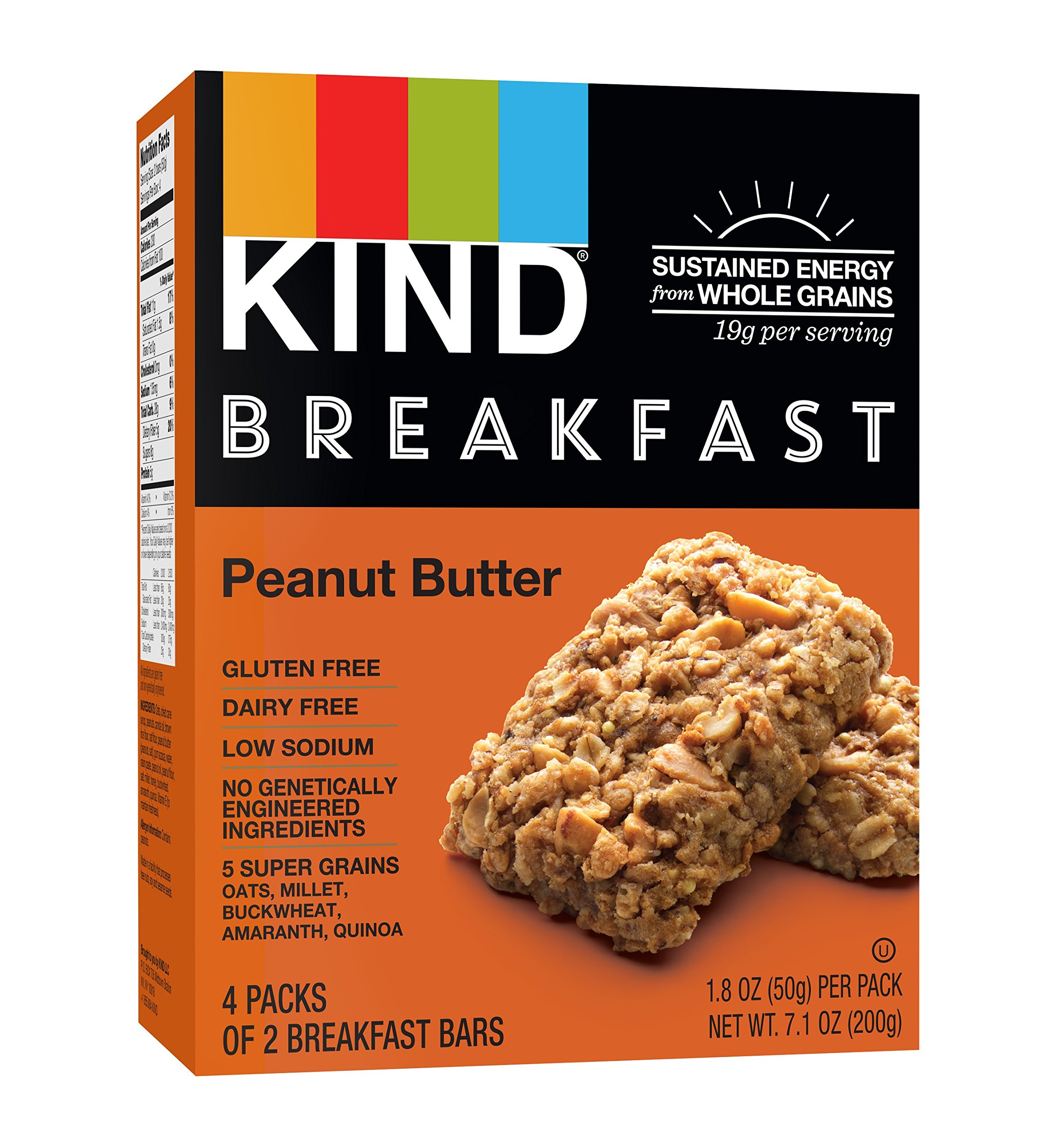 KIND Breakfast Bars, Peanut Butter, Gluten Free, Non GMO, 1.8oz,  32 Count
