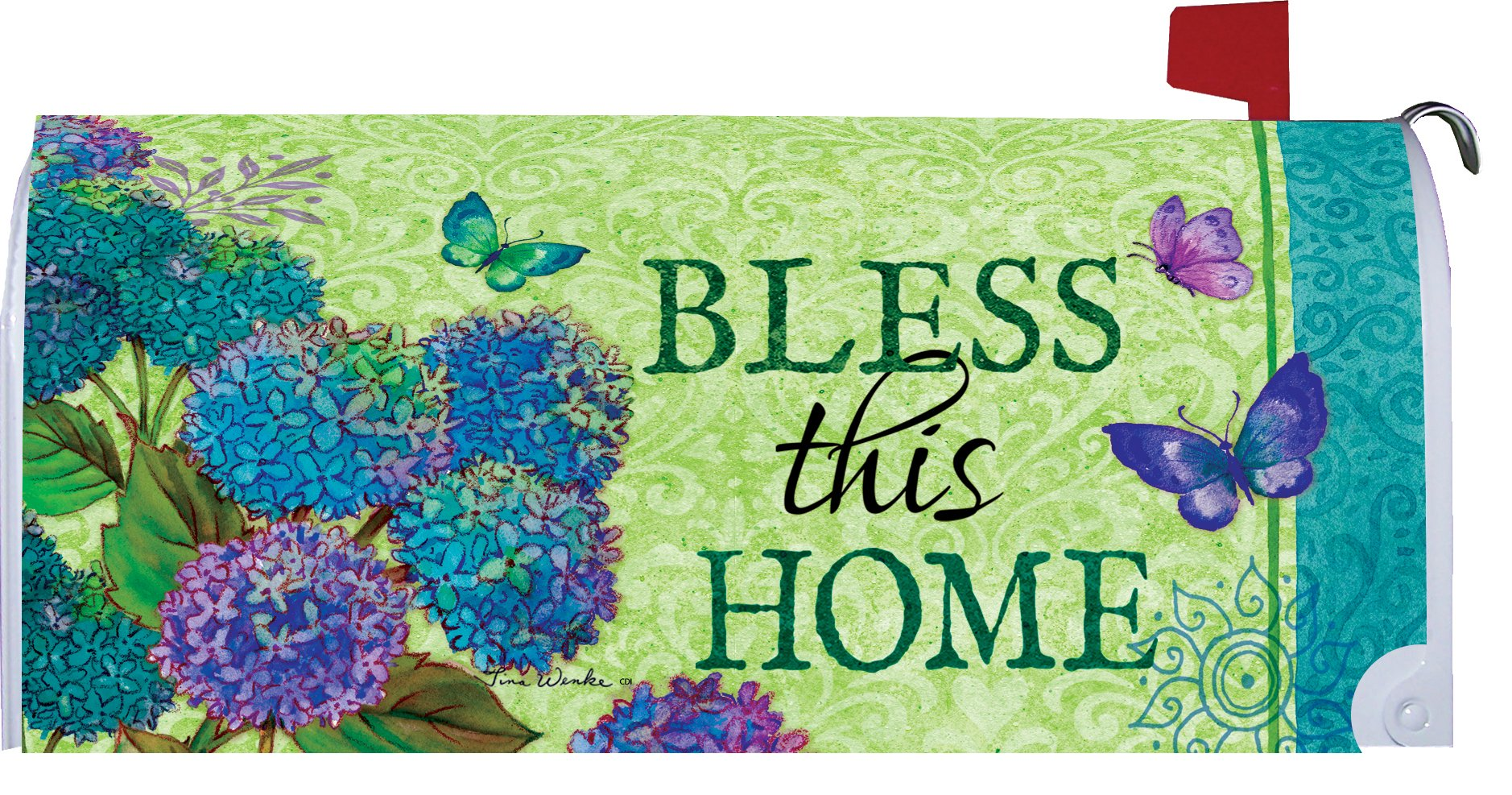 Bless This Home - Mailbox Makover Cover - Vinyl witn Magnetic Strips for Steel Standard Rural Mailbox - Copyright, Licensed and Trademarked by Custom Decor Inc. by Custom Decor