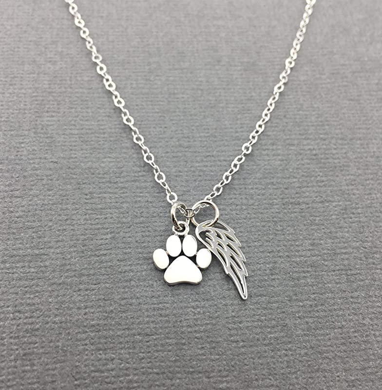 VENACOLY Paw Print Necklace Sterling Silver Paw Memorial Necklace Pet Cat Paw Animal Pendant Jewelry Gifts for Pets Lovers