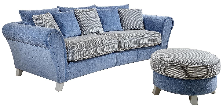 cavadore 514 big sofa calianne mit rundhocker 257 x 75 85 x 120 cm spectra wei blau martha. Black Bedroom Furniture Sets. Home Design Ideas