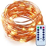 Dimmable LED String Lights with Remote ITART Warm White Mini Fairy Lights Battery Operated 50 LEDs / 16.7ft (5m) Super Bright Ultra Thin Silver Wire Rope Lights for Trees Wedding Bedroom