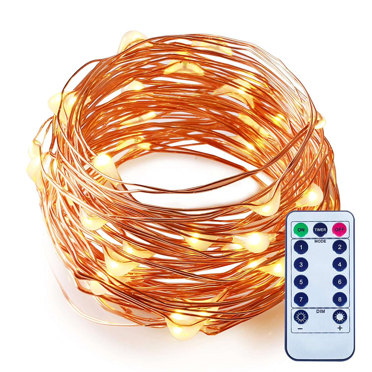 This controller lets you control 4 different branches of lights - Amazon Com Dimmable Led String Lights Battery Powered With Remote Control Itart Romantic Purple Mini String Lights 50 Leds 16 7ft 5m Super Bright