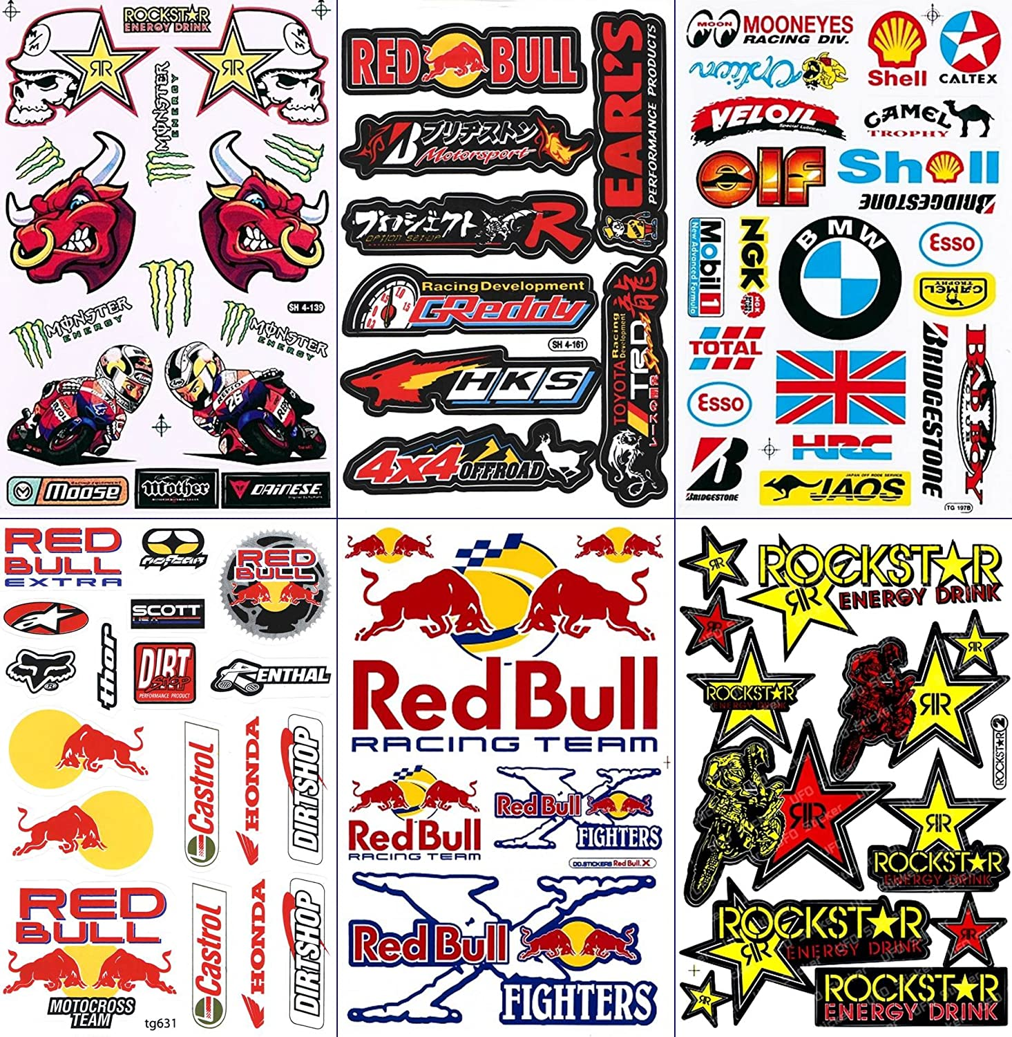 Amazon com race racing f1 logo sponsor sticker decal metal mulisha yamaha kawasaki motocross skateboard car bike bicycle kid wall helmet decoration home