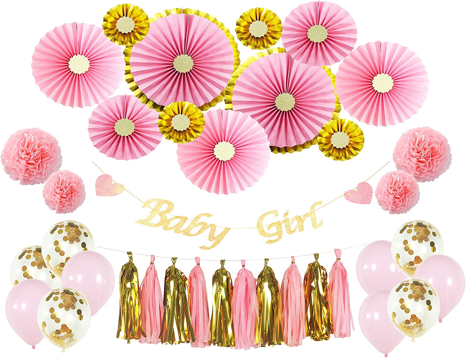 Premium Baby Shower Decorations for Girl, 38 Pieces Pink and Gold Baby Shower Decorations, Princess Baby Shower Décor, Girl Baby Shower, Pink Gold Party Decorations, Pink Paper Fans with Gold