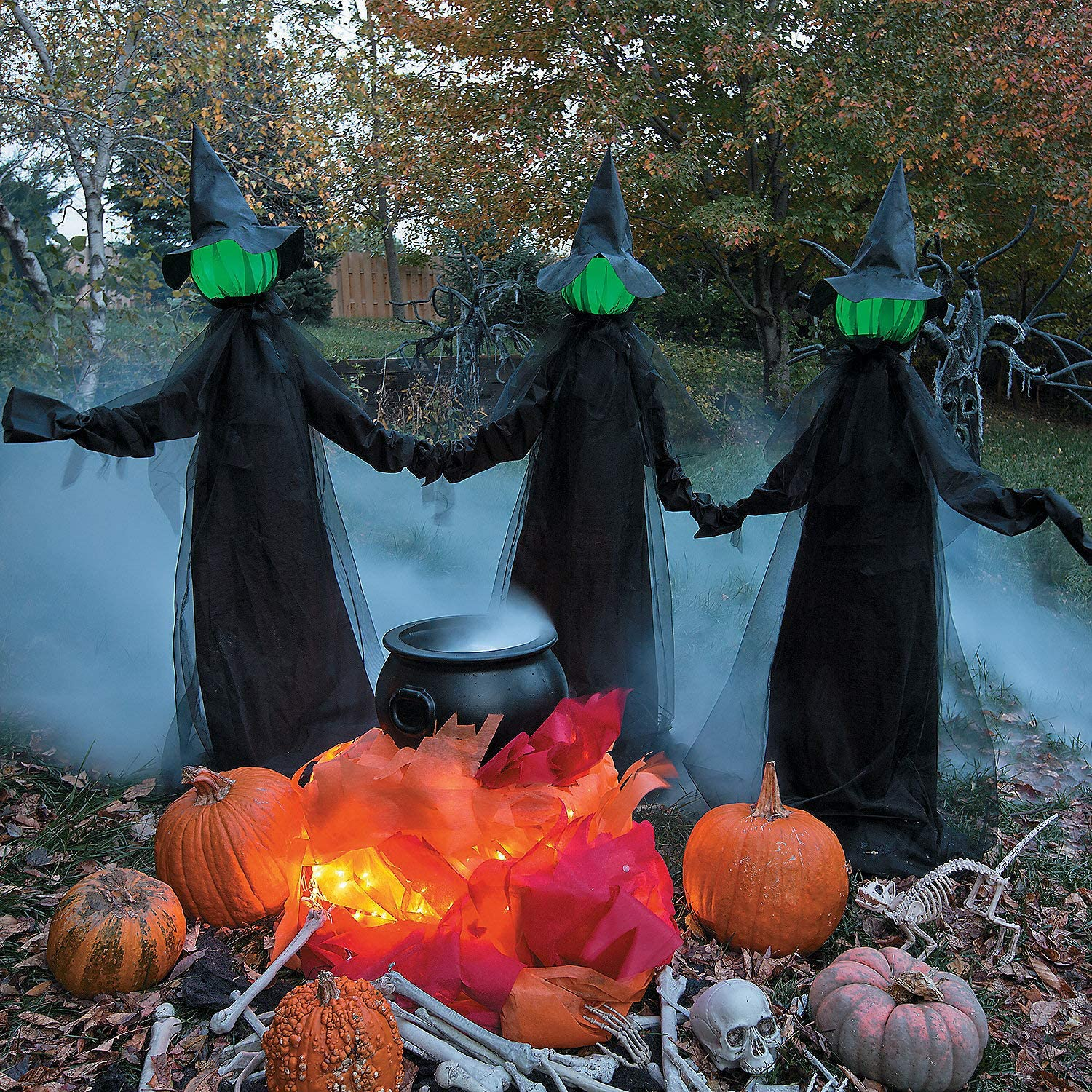 Witches Holding Hands and Glowing Faces Set of 3 witches 6 feet tall Outdoor Yard Halloween Decoration