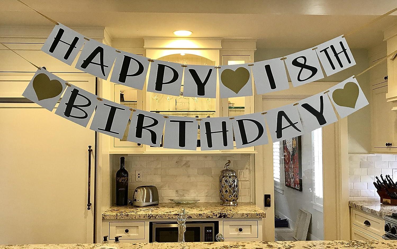 Amazon.com: Happy 18th Birthday Banner - Gold Hearts and Ribbon ...