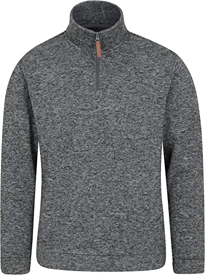 Mountain Warehouse Mens Full Zip Textured Micro Fleece Jacket Breathable Fabric