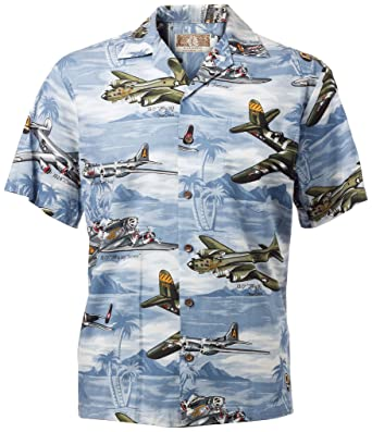 d2a8e173 RJC Hawaiian Shirt Lagoon Blue with WWII Planes at Amazon Men's ...
