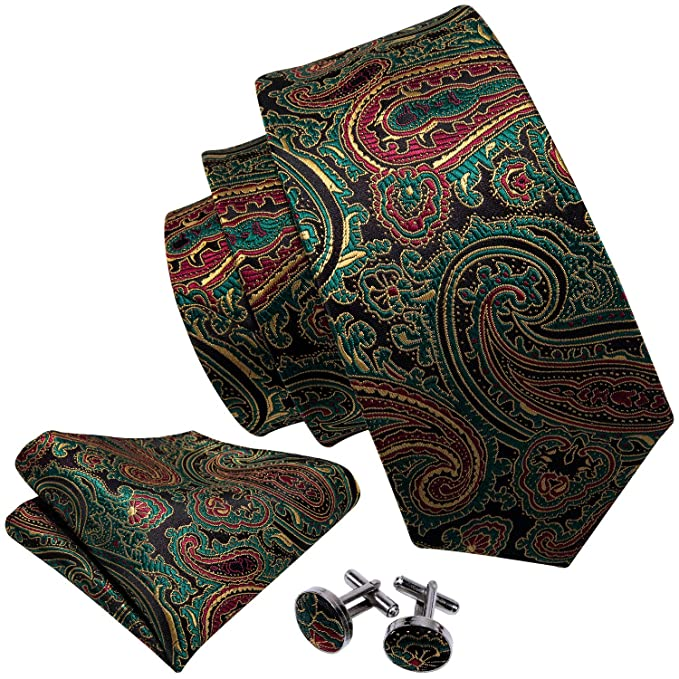 St Patrick's Day Green Ties for Men Paisley Tie Hanky Cufflinks Set